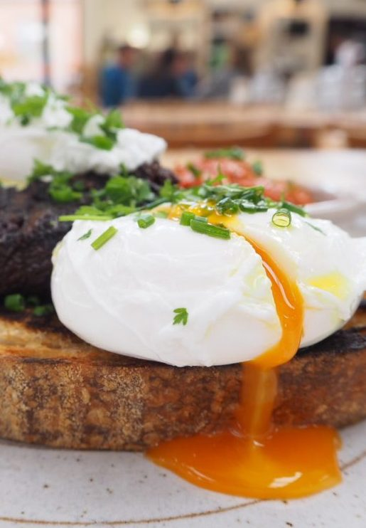 Little Window poached eggs, black pudding