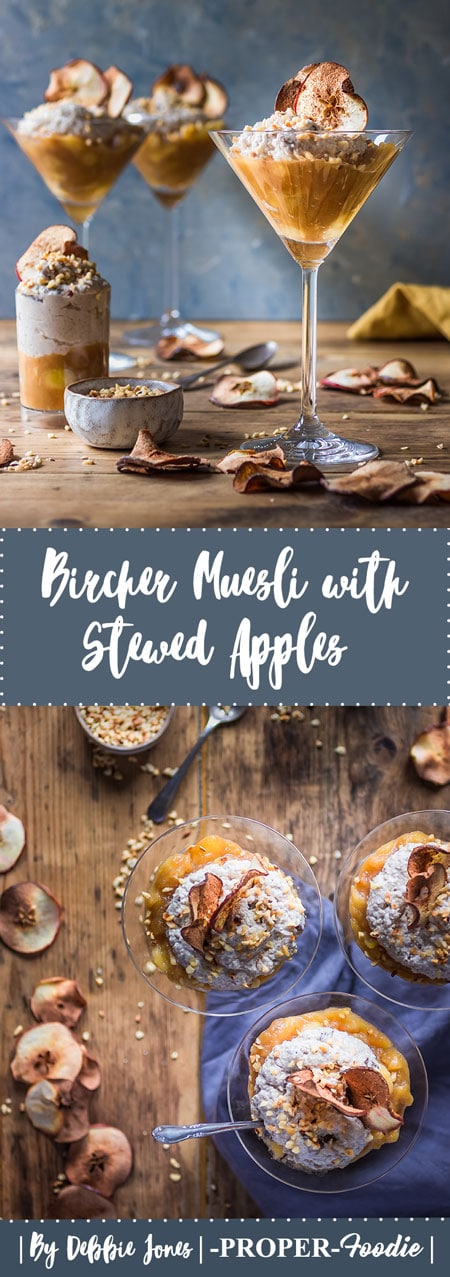 Bircher muesli with stewed apples & apple crisps